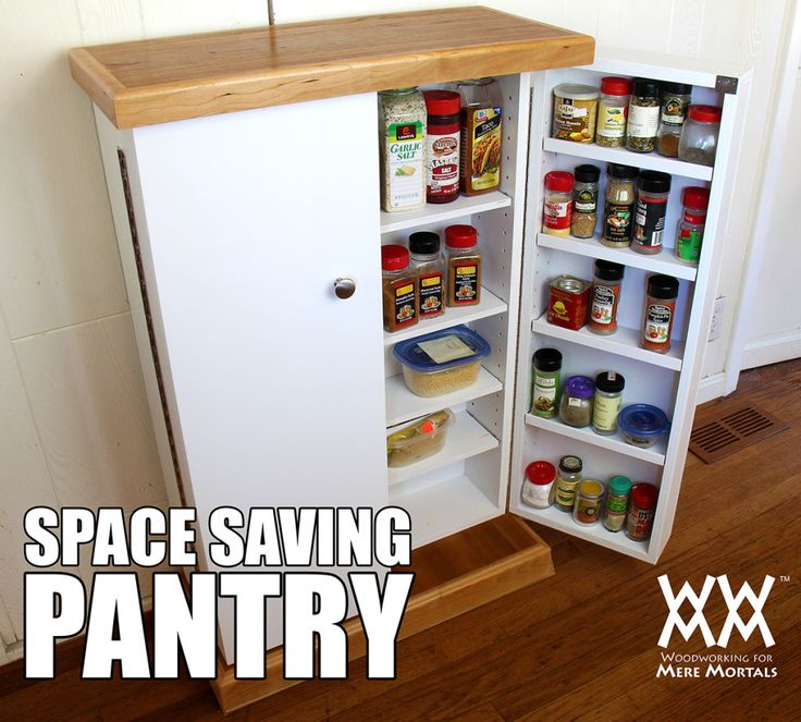 Space saving pantry made from one sheet of plywood. Free tutorial, video and plans.