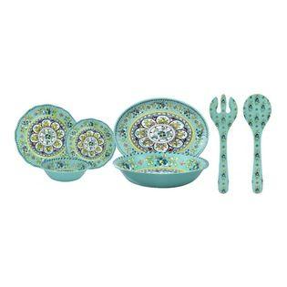 Le Cadeaux - Le Cadeaux Madrid Turquoise Dinnerware, Set of 16 - Triple strength melamine - not microwave safe but dishwasher safe.
