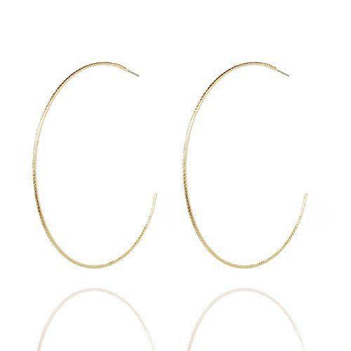 504b762e6 Pomina Diamond Cut Extra Large Thin Open Round Hoop Earrings (Gold ...