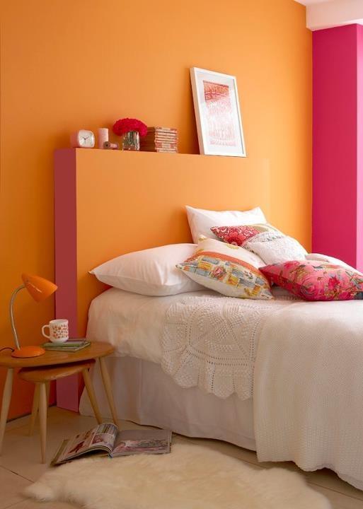 Bedroom - 'Marigold', 'Carmine' & 'Leather'  The Little Greene Paint.