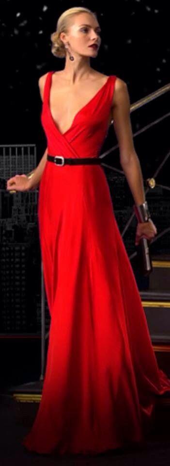 Ralph Lauren ~ Plunging Neckline Red Maxi Dress