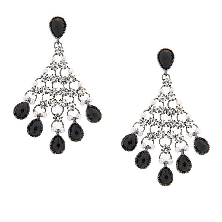 """<P>Give ears dramatic sparkle and shine with these chandelier drop earrings. Round crystals and black teardrop shaped crystal gems cascade down from a single black teardrop. Tiny pearls add a touch of elegance.<P><UL><LI>Chandelier earrings featuring black teardrops, crystals and pearls<LI>Measurements: 1 1/2""""L x 2 5/8""""H<LI>Post back<LI>Materials: Metal</LI></UL>"""