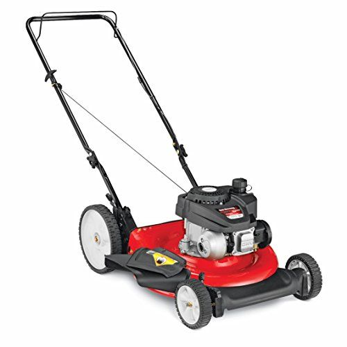 Yard Machines 140cc 21-Inch Push Mower  The Yard Machines push lawn mower has a powerful 140cc OHV gas engine and will accommodate small to medium size yards. A 21″ cutting width and dual-lever height adjustment. This lawn mower is light in weight and has 7″/11″ wheels for easy maneuverability. Side mulch capability. This Yard Machines Push Lawn Mower is perfect for mowing small to medium sized yards This Yard Machines Push Lawn Mower is perfect for mowing small to medium sized yards..