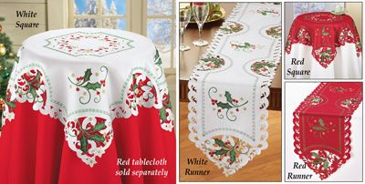 Christmas Holly Berries Table Linens