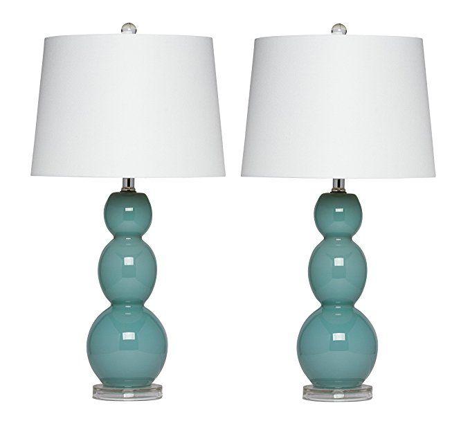 Virtue Home Bellacina Modern Teal Glass Table Lamp Set Of 2 27 X 14 X 14 601 26te Lamp Glass Table Lamp Glass Table