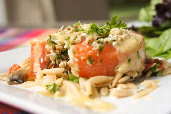 Almond Stuffed Salmon Roulades with Lemon Dill Sauce