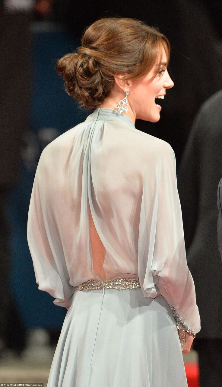 Kate appeared to leave her underwear at home as she flashed a hint of her lower back in the elegant gown