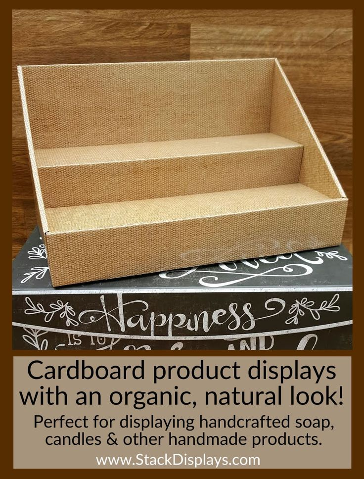 "Looking for a display that gives your products a more natural look? Our NEW burlap displays will be perfect for showing off your natural creations! If you sell soap, handmade candles or your own bath and body products, these displays will give your products the natural backdrop you are looking for. No matter what product you sell, your products and entire table display or booth will have a more organic and natural feel!  14"" wide x 8"" deep x 8"" high with 4""deep shelves"