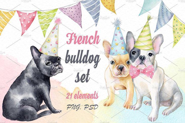 French bulldog set + Bonus by Ponomarchuk Art on @creativemarket
