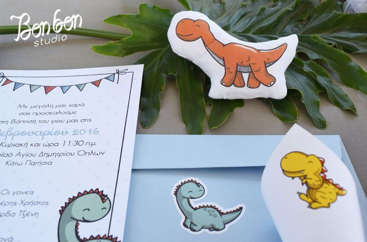 Dinosaur theme baptism_invitation, prints and favors