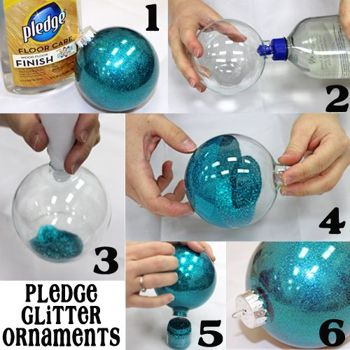 PLEDGE GLITTER ORNAMENTS:   1. Supplies:  -Pledge Wood Floor Finish (Blue Cap!)  -Clear Ornaments  - Glitter  -Funnel   2. Put about a ta...
