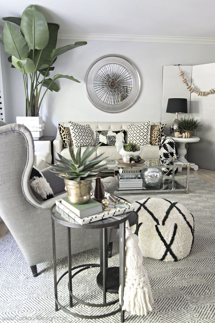 gorgeous fall living room; neutral eclectic boho fall tour - Cuckoo4Design