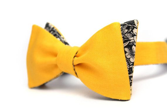 543b038589f7 Mens bowtie Yellow bow tie 100%Cotton reversible men's | Bow ties | Yellow bow  tie, Bows, Tie
