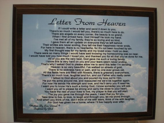 Letter From Heaven For Loss Of Loved One Religous Wood