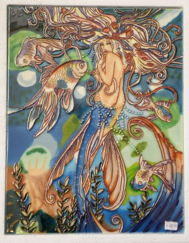 """11 x 14"""" tile featuring beautiful flowing mermaid. The black velvet-like backing can be soaked off for permanent installation on a wall or hang tab on back for easy hanging."""