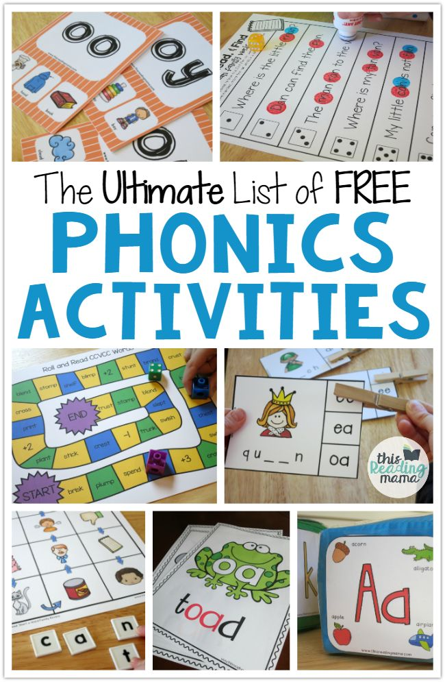 Tons of free phonics activities! ABC games, vowel team activities, word family centers... lots of ideas in one spot.