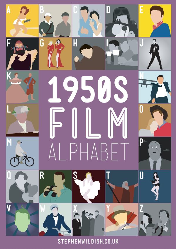 1950′s Film Alphabet, Poster That Quizzes Your 1950s Movie Knowledge