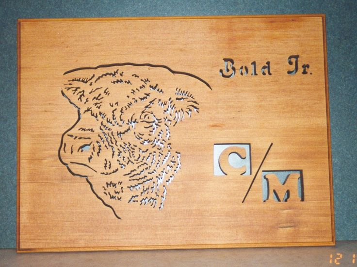 Custom plaque for a farmer that raises a special bull with next to no horns---with his brand