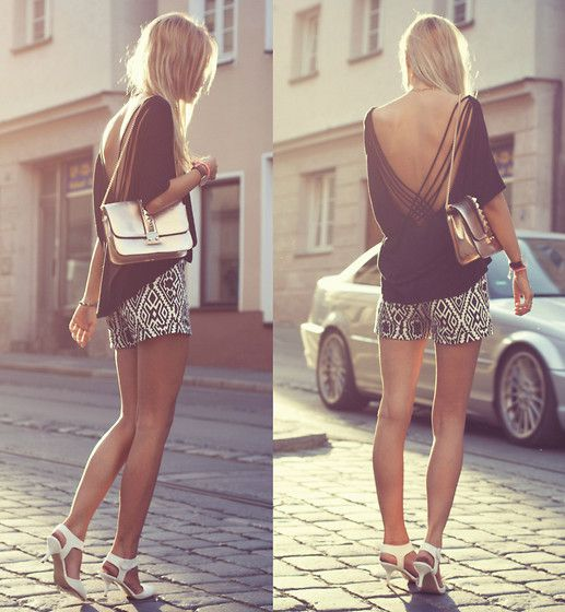 Persunmall Aztec Shorts, Sammydress Studded Bag, Wholesale7 White Heels
