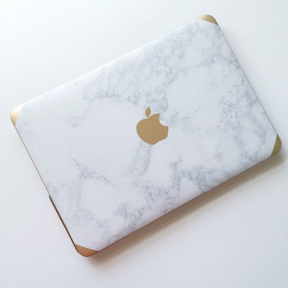 Marble and Gold MacBook Air and Pro Laptop case with the Logo detail. Compatible for Apple products. To add monogram: