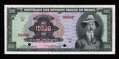 Brazil banknotes 10000 Brazilian Cruzeiros banknote of 1966, Alberto Santos-Dumont.