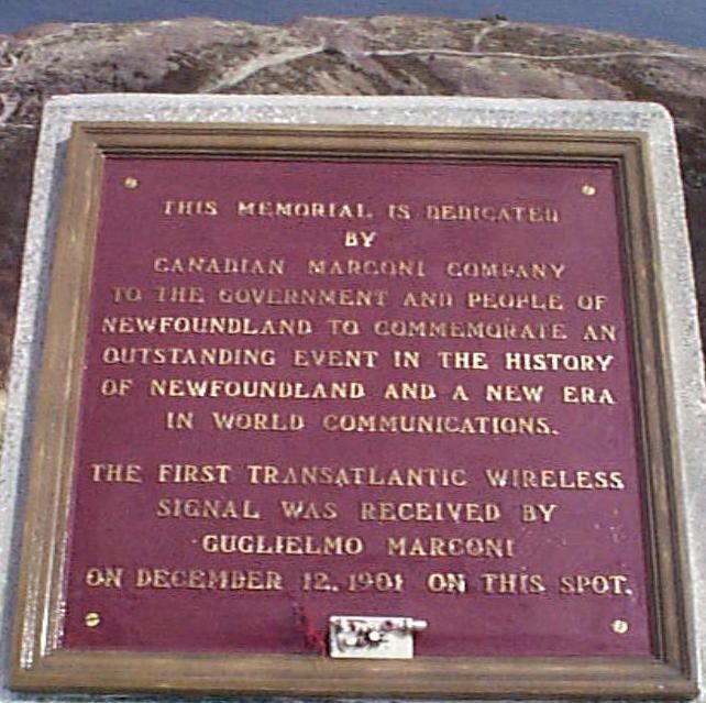 plaque for the first transatlantic wireless received by Marconi..
