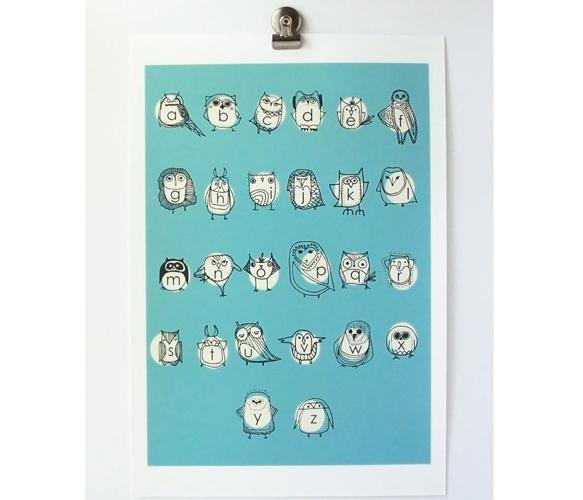 Large Owlphabet Print8X10 Alphabet, Large Owlphabet, Owls Alphabet, Owlphabet 8X10, Baby Gift, Happy Prints, Artists Animal, Alphabet Prints, Owlphabet Prints
