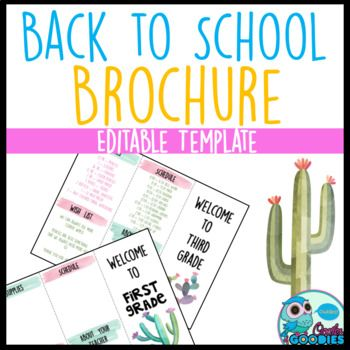 Back to School Brochure - Cactus Themed - EDITABLE This is a brochure that can be used for back to school, open house, or meet the teacher night. Included is grades K-6 as well as a blank template to design your own. There are five designs in each grade level and blank template. *************************************************************************** Customer