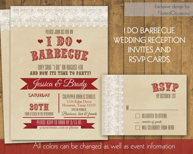 I Do BBQ Wedding Reception Invitation, Rustic I Do BBQ Lace And Kraft Paper  Invite RSVP Card Western Wedding Reception Only Template Set