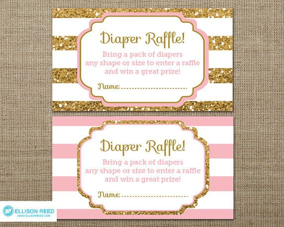 Gold Baby Shower Diaper Raffle Ticket  Gold Glitter by EllisonReed