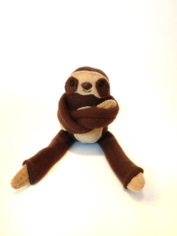 Baby Three Toed Sloth Plush Toy - Brown - Mini Sloth - Handmade - Gift for Him - Gift for Her