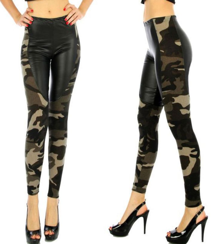 Camouflage Leggings Army Green Faux Leather Brushed Knit Leggings Size S/M L/XL #PickyBoo