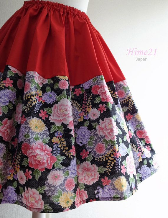 Japanese pattern cotton Skirt Red and Black Flower  by Hime21, ¥5500