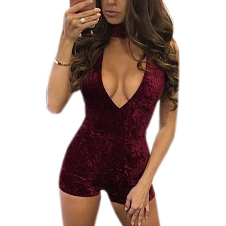 Hot Sexy Velvet Playsuits Women Deep V-neck Sleeveless Short Rompers Party Jumpsuit Nightclub Bodycon Bodysiut Skiny S-3XL GV506