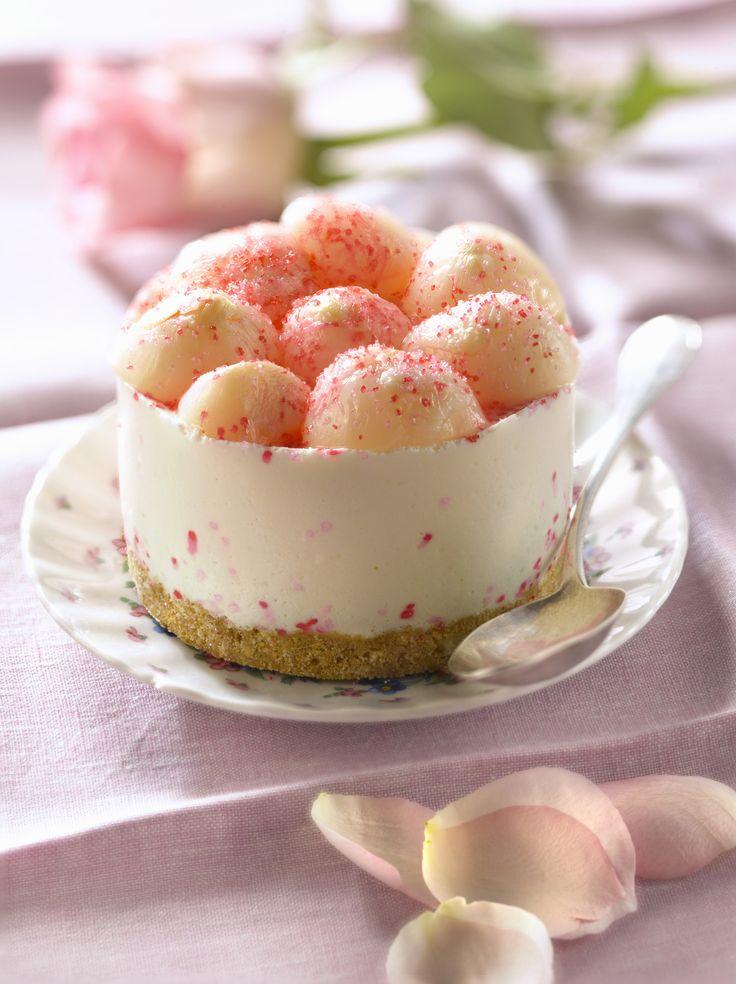 Recette de Petits cheesecakes aux litchis et à la rose - Ma vie en couleurs