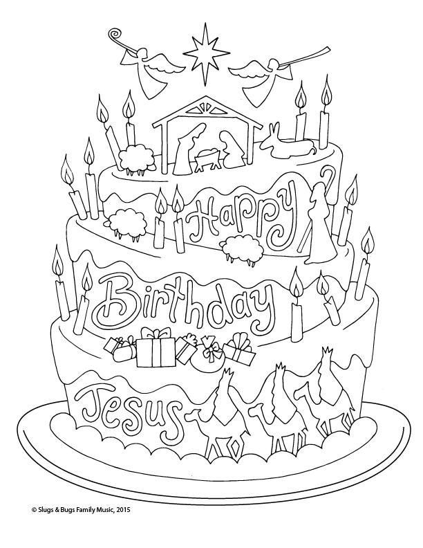 Happy Birthday Jesus Christmas Coloring Page Kids Holiday