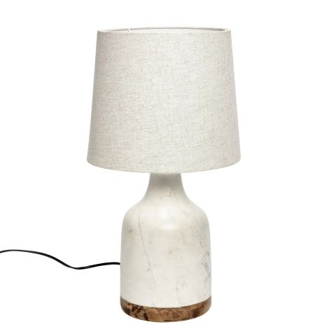 Hollys house wood and marble table lamp