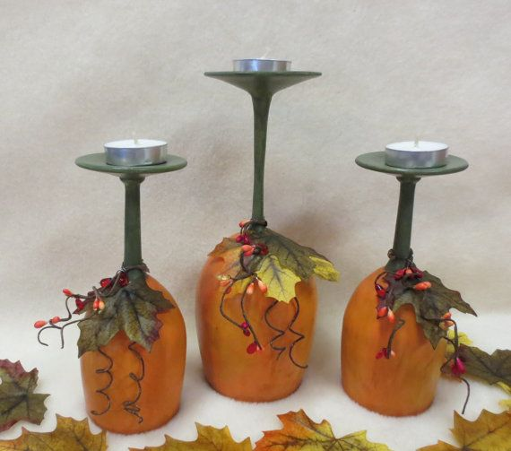 Set of 3 rustic wine glass pumpkin fall centerpiece candle for Wine bottle candle holder craft
