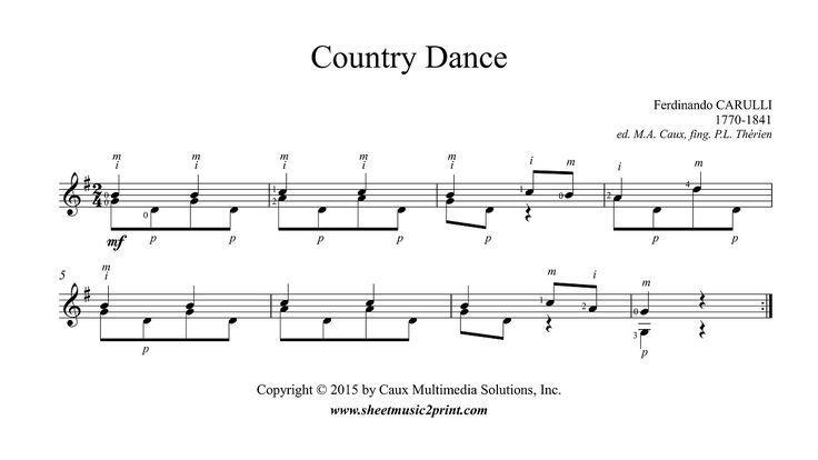 Carulli : Country Dance http://www.sheetmusic2print.com/Carulli/Country-Dance.aspx
