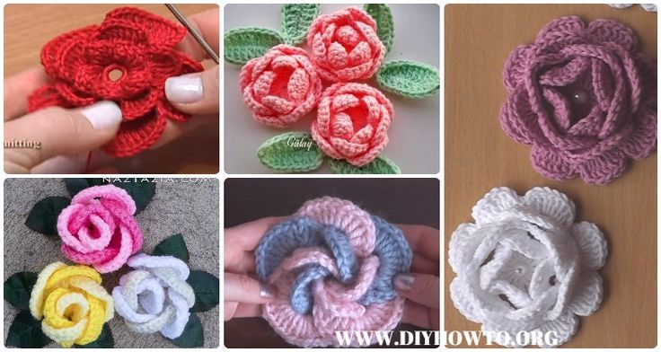 Collection of Crochet 3D Rose Flowers Free Patterns: Easy Crochet Rose, Single Stripe Rose, Layered Rose, Interlocking Ring Rose, Puffy or Popcorn Rose