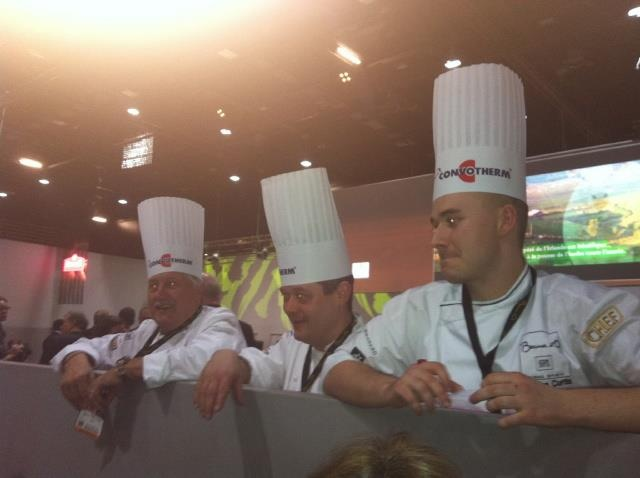 Chefs waiting whilst the Bocuse d'Or 2013 judges are deliberating. Brian Turner (left) and Adam Bennett (right).