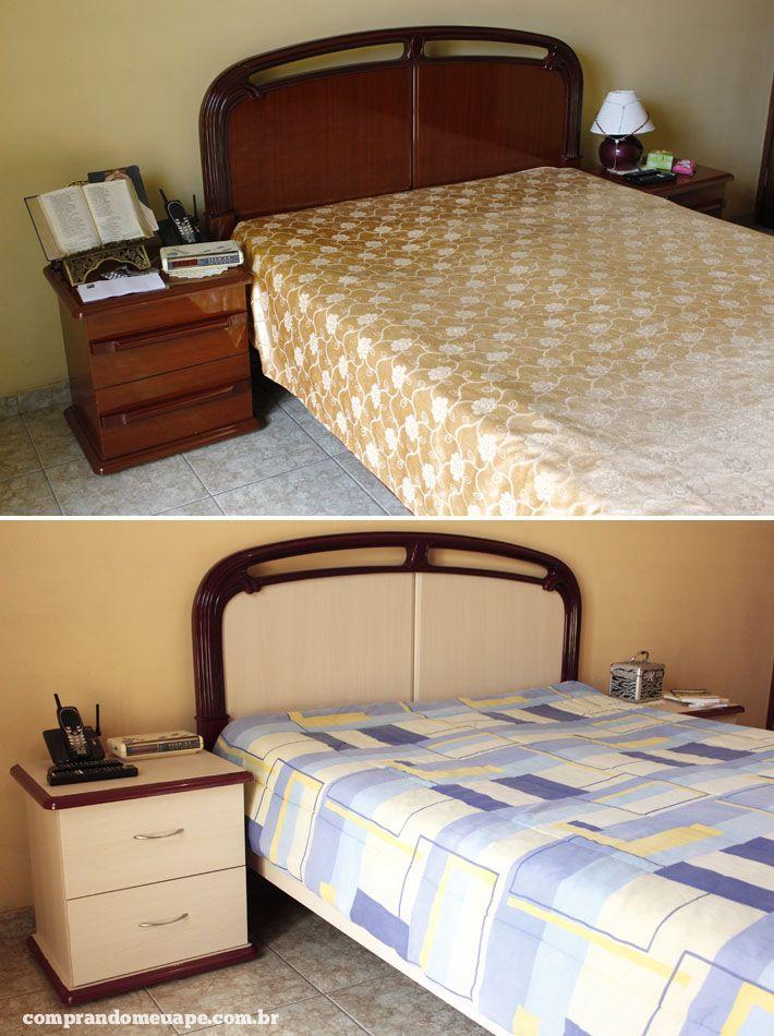 Reforma de guarda roupa e cama usando laminado adesivo. Veja o antes e o depois…