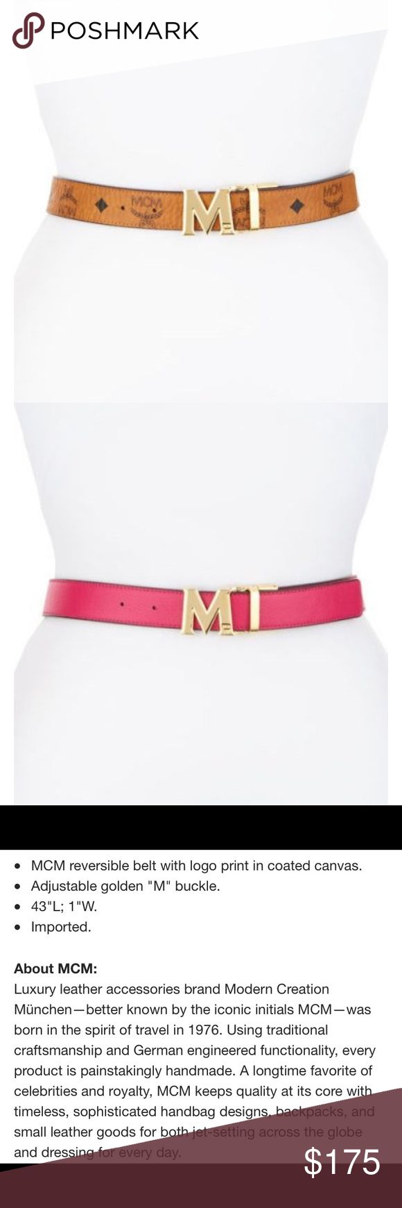 Women's MCM Reversible Logo Belt MCM reversible logo belt in classic cognac & hot pink. Rarely used, leather is in like-new condition. MCM, Ferragamo, & Tory Burch hardware on belts all seem to scuff the same  Please see pictures. Offers Welcome  MCM Accessories Belts