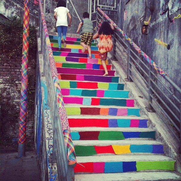 Knit art on a staircase