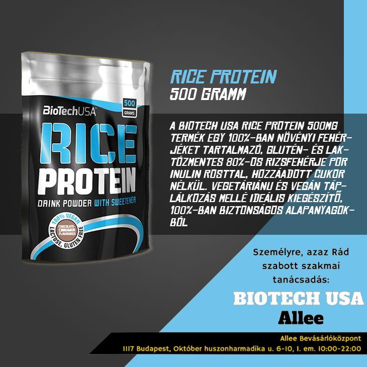 VEGA VAGY, DE SZERETNÉL IZMOSODNI? Az izomnöveléshez szükséges fehérjét a legtöbb tanácsadó általában állati eredetű termékekből (húsból, tejtermékekből) javasolja bevinni a szervezetbe. Mit tegyen viszont az, aki vegetáriánus, mégis szeretne formás izmokat építeni? A megoldás a Biotech USA Rice Protein 500g termékben rejlik, ami egy 100%-ban növényi eredetű fehérjéket tartalmazó, glutén-és laktózmentes 80%-os rizsfehérje por inulin rosttal, hozzáadott cukor nélkül.