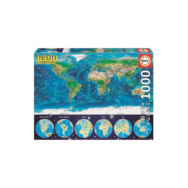 Educa Neon World Map 1000pc Puzzle