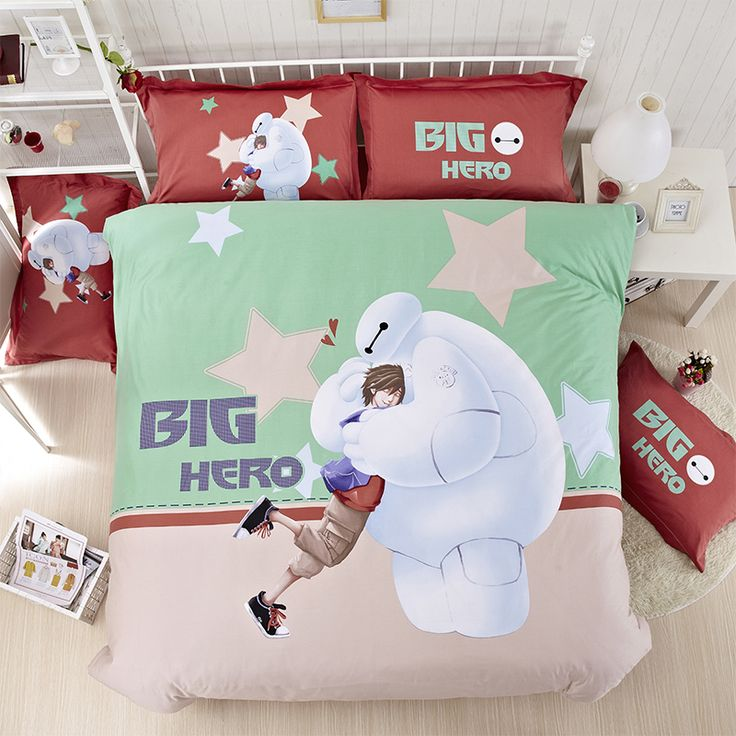 Cheap Duvet Set Starry Sky Green Big Baymax Bed Comforter Sets Twin Full Queeen King Size Wholesale