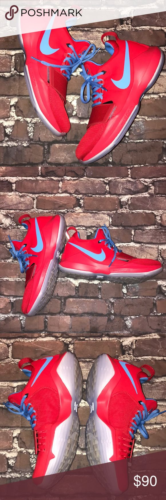 NIKE iD~ PG 1 Sneakers Paul George Shoes~7 (EUR40) Red and Carolina Blue..gently used no box. Nike Shoes Sneakers