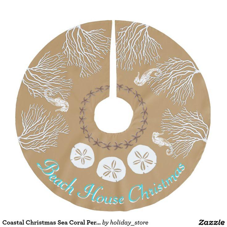 Coastal Christmas Sea Coral Personalized Brushed Polyester Tree Skirt Nautical