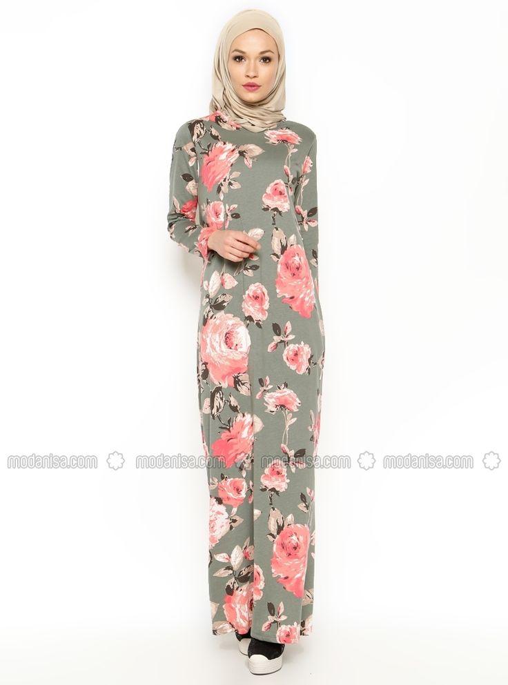 Çiçek Desenli Pamuk Elbise - Haki - Dide